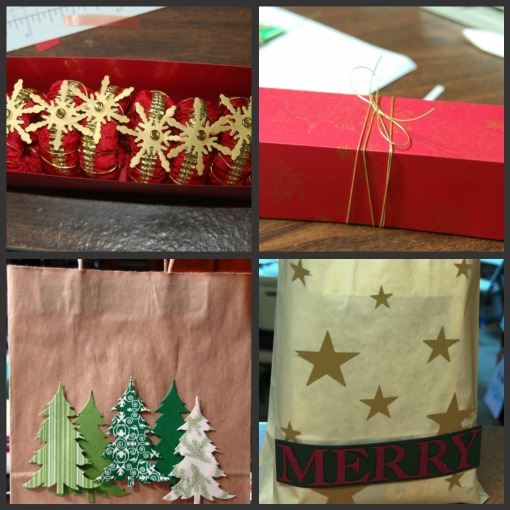 "Clockwise from top left: Napkin rings, box to hold napkin rings, ""Merry"" bag for the 12th night, tree bag. I made all the things shown. I loved it, but it does put a dent into one's time."